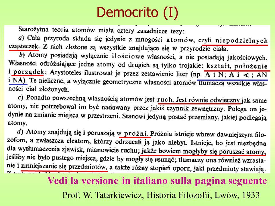 Democrito (I) Vedi la versione in italiano sulla pagina seguente