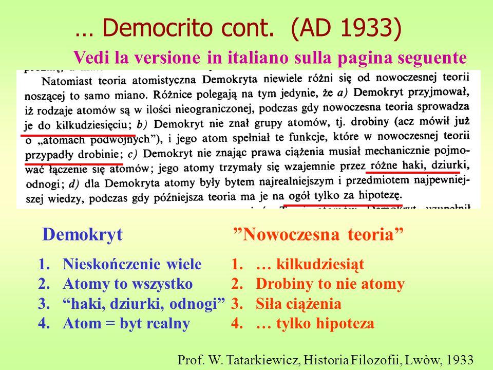 … Democrito cont. (AD 1933) Vedi la versione in italiano sulla pagina seguente. Demokryt Nowoczesna teoria