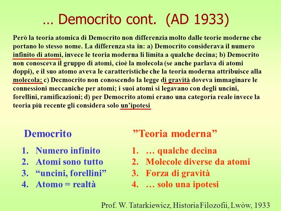 … Democrito cont. (AD 1933) Democrito Teoria moderna Numero infinito