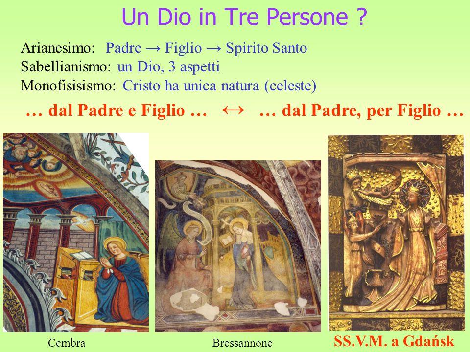 Un Dio in Tre Persone Arianesimo: Padre → Figlio → Spirito Santo. Sabellianismo: un Dio, 3 aspetti.