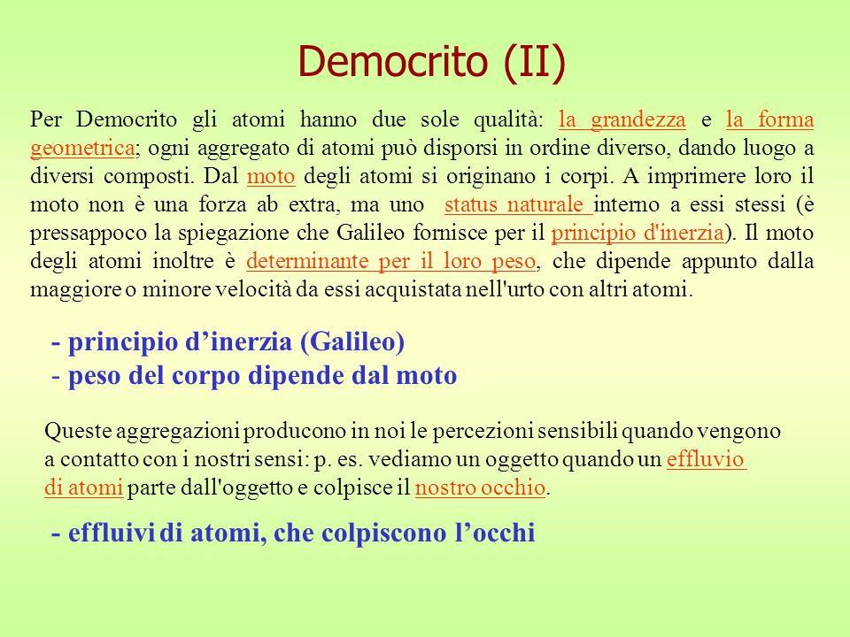 Democrito (II) - principio d'inerzia (Galileo)