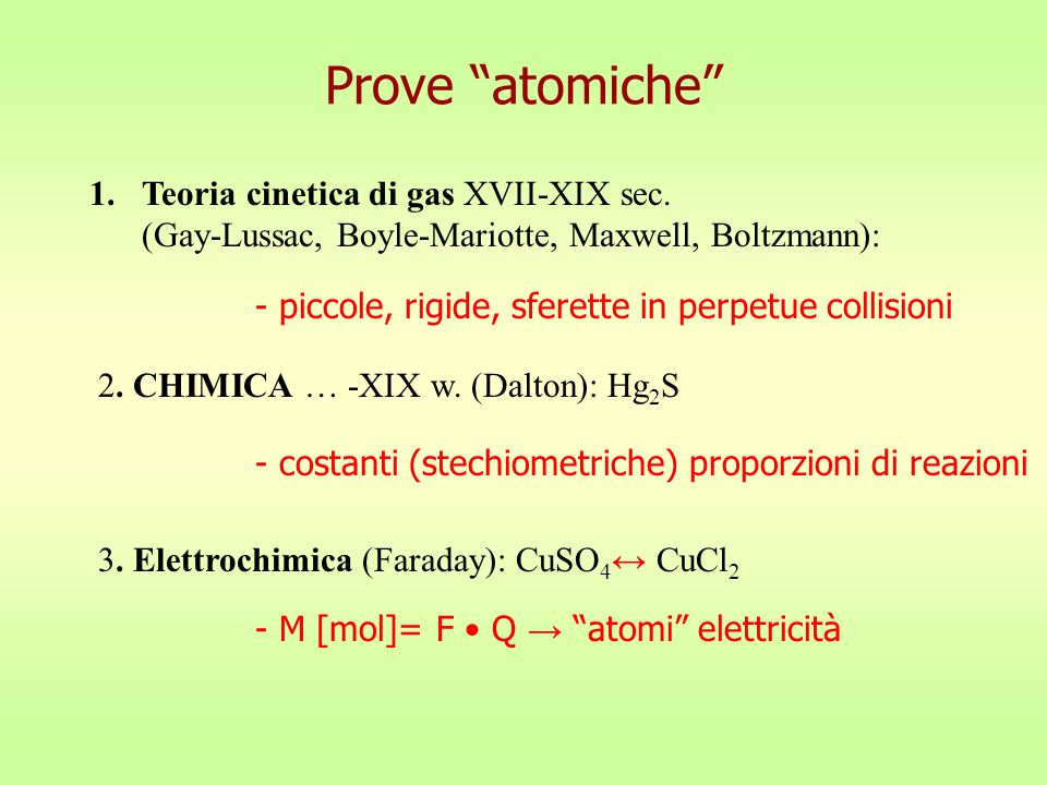 Prove atomiche Teoria cinetica di gas XVII-XIX sec.