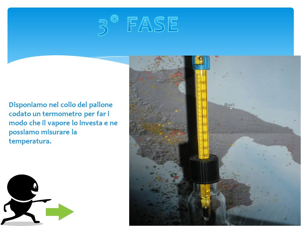 3° FASE Disponiamo nel collo del pallone codato un termometro per far i modo che il vapore lo investa e ne possiamo misurare la temperatura.