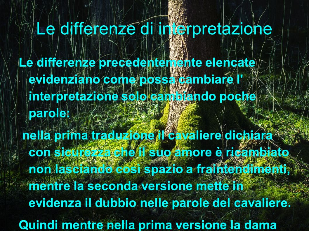 Le differenze di interpretazione