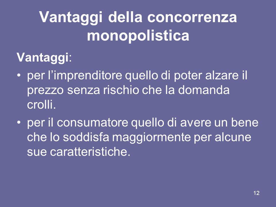Vantaggi della concorrenza monopolistica