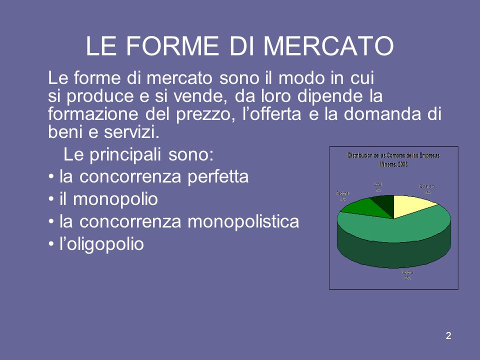 LE FORME DI MERCATO Le forme di mercato sono il modo in cui