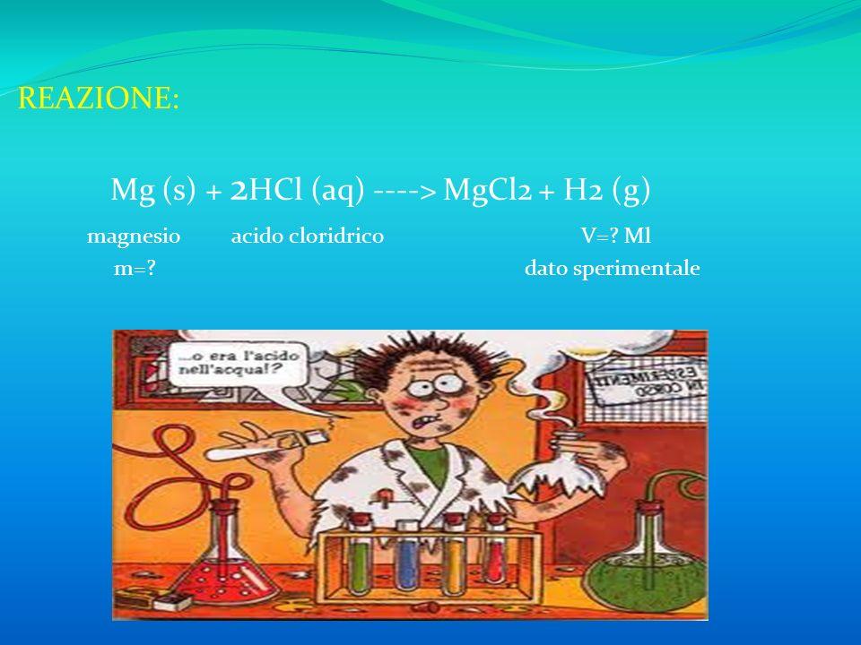 Mg (s) + 2HCl (aq) ----> MgCl2 + H2 (g)