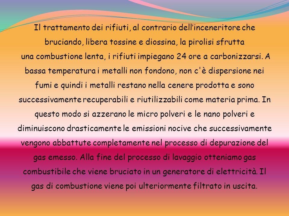 Il trattamento dei rifiuti, al contrario dell'inceneritore che bruciando, libera tossine e diossina, la pirolisi sfrutta