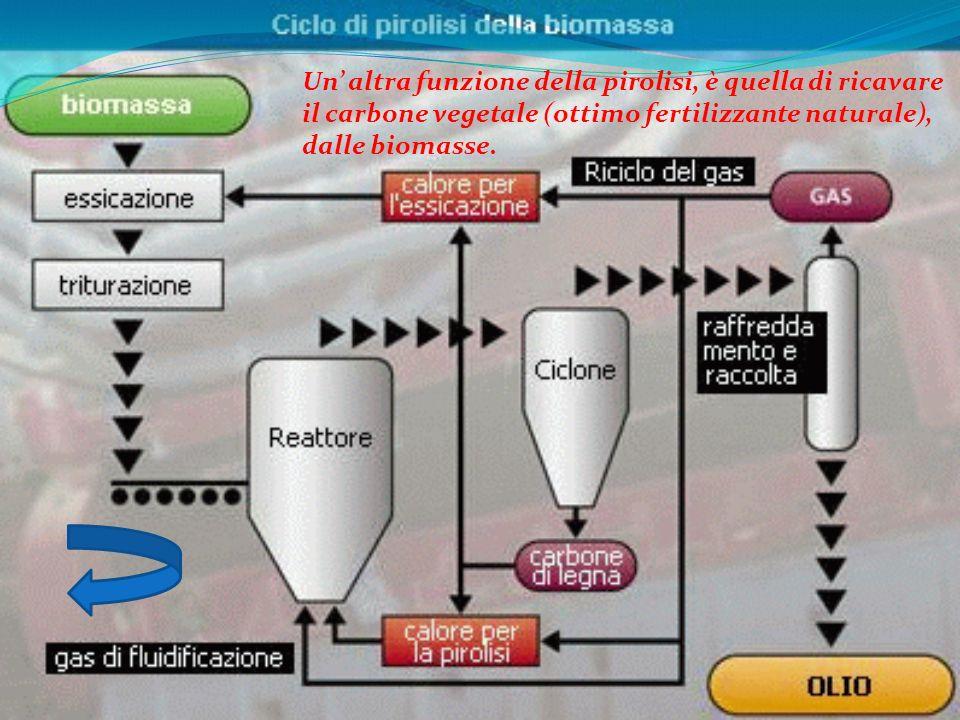 Un' altra funzione della pirolisi, è quella di ricavare il carbone vegetale (ottimo fertilizzante naturale), dalle biomasse.
