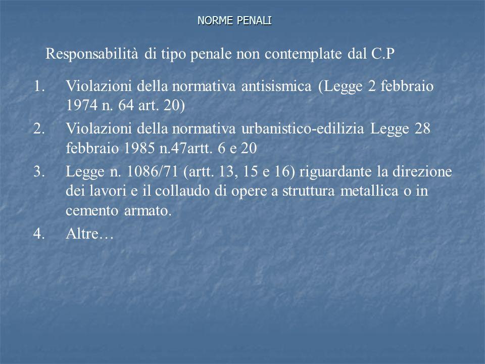 Responsabilità di tipo penale non contemplate dal C.P
