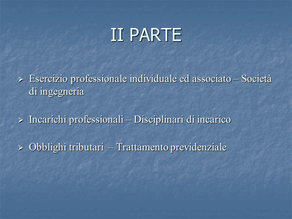 II PARTE Esercizio professionale individuale ed associato – Società di ingegneria. Incarichi professionali – Disciplinari di incarico.