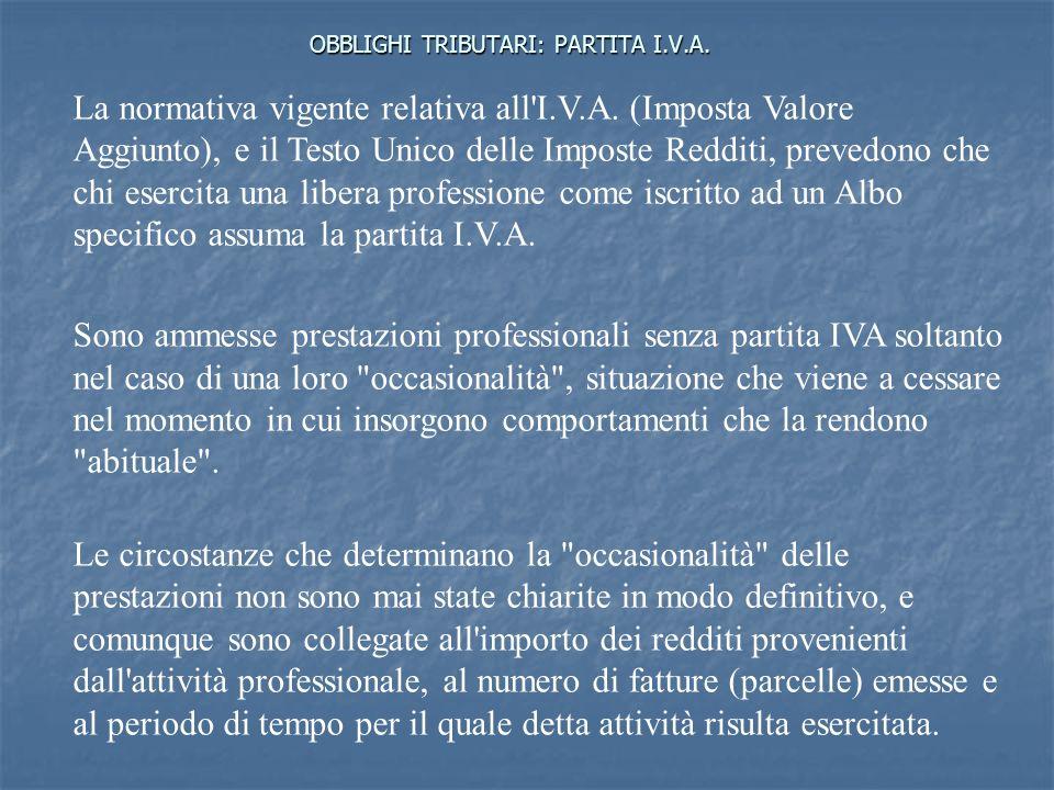 OBBLIGHI TRIBUTARI: PARTITA I.V.A.