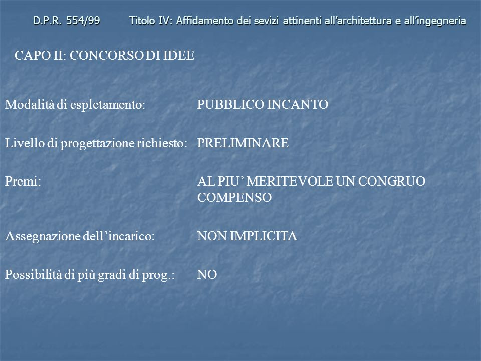 CAPO II: CONCORSO DI IDEE