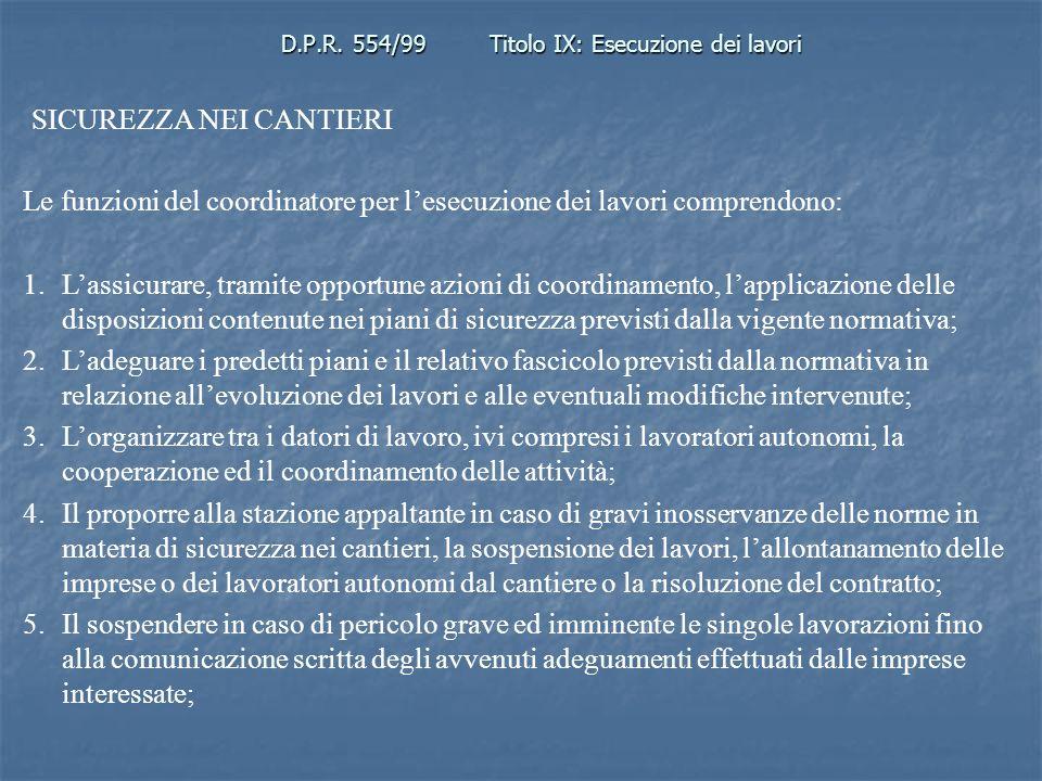 D.P.R. 554/99 Titolo IX: Esecuzione dei lavori