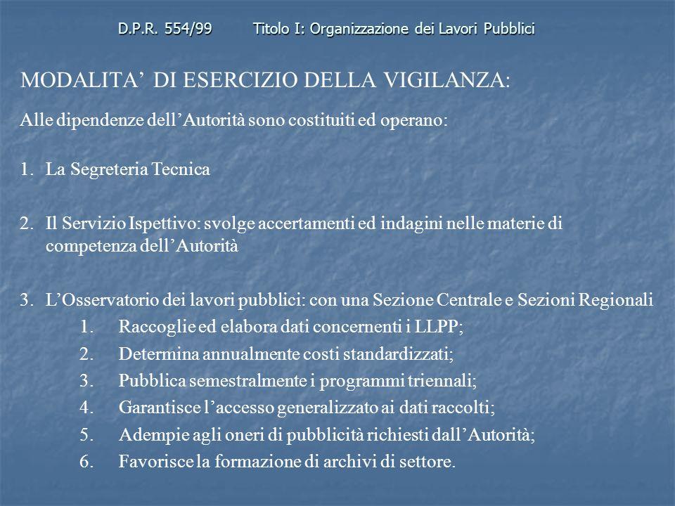 D.P.R. 554/99 Titolo I: Organizzazione dei Lavori Pubblici