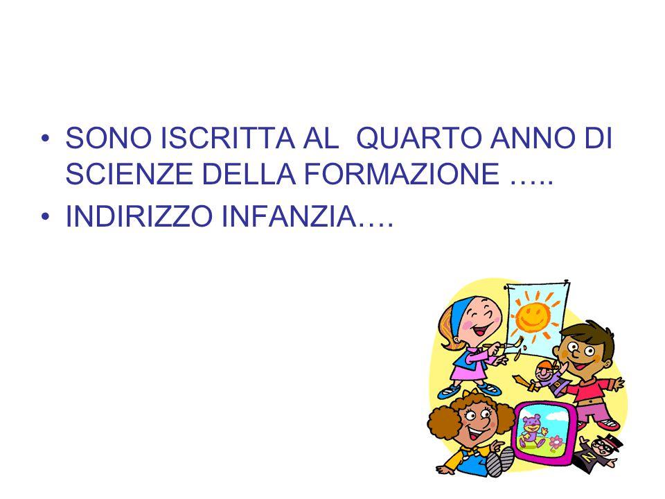 SONO ISCRITTA AL QUARTO ANNO DI SCIENZE DELLA FORMAZIONE …..