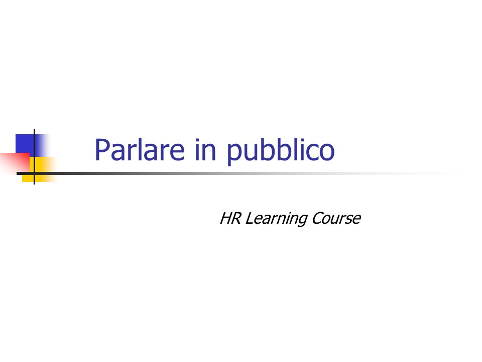 Parlare in pubblico HR Learning Course