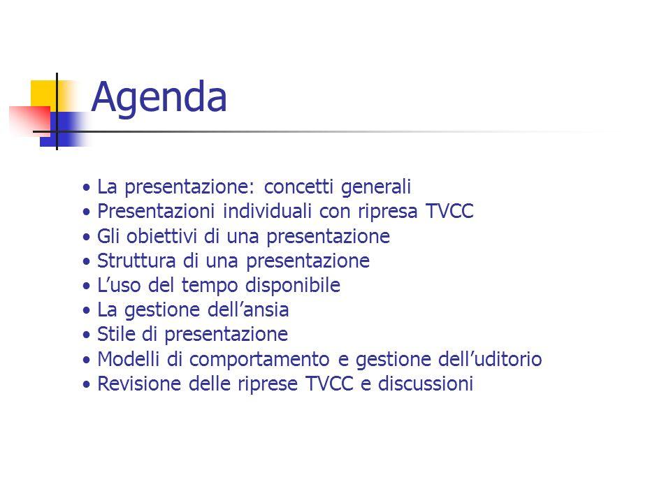 Agenda La presentazione: concetti generali