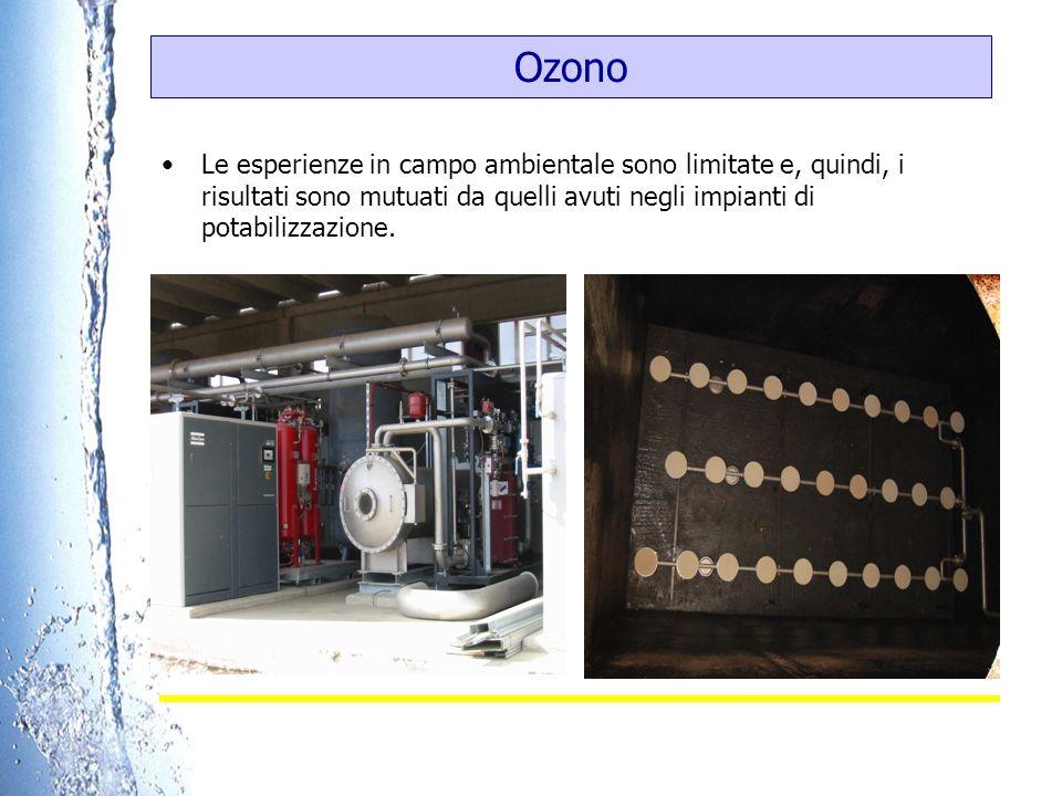 Ozono Le esperienze in campo ambientale sono limitate e, quindi, i risultati sono mutuati da quelli avuti negli impianti di potabilizzazione.