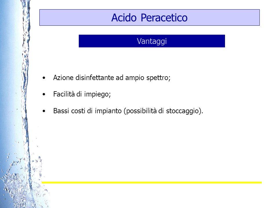 Acido Peracetico Vantaggi Azione disinfettante ad ampio spettro;
