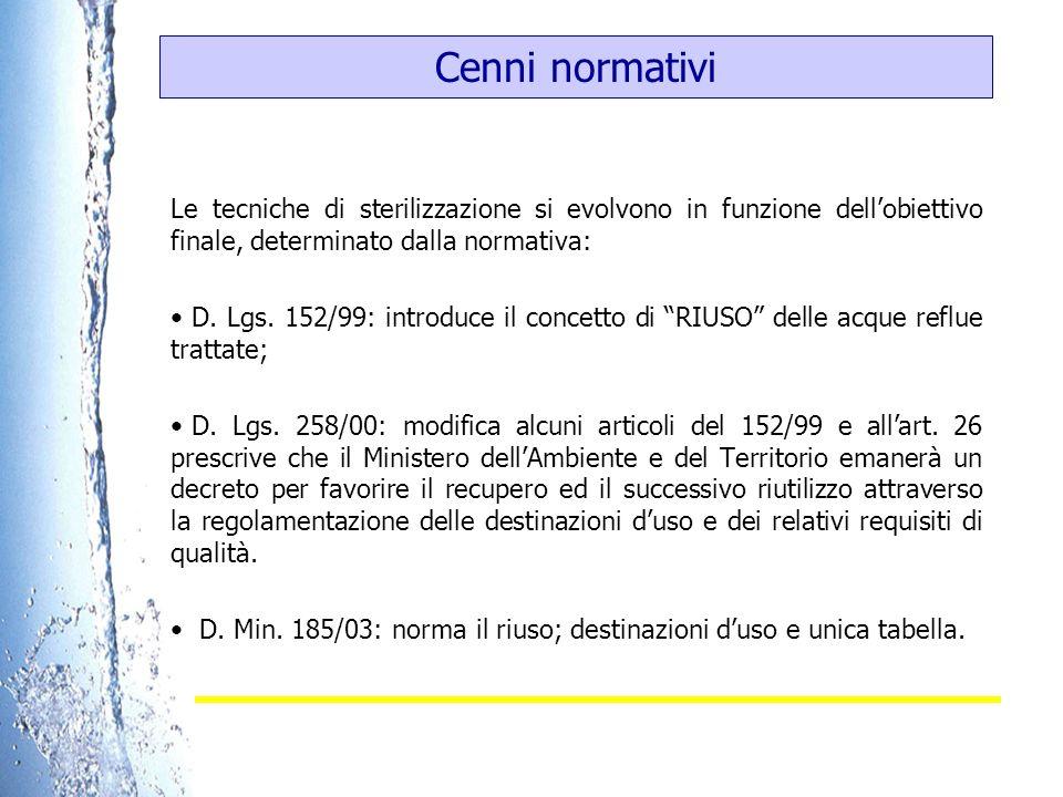 Cenni normativi Le tecniche di sterilizzazione si evolvono in funzione dell'obiettivo finale, determinato dalla normativa: