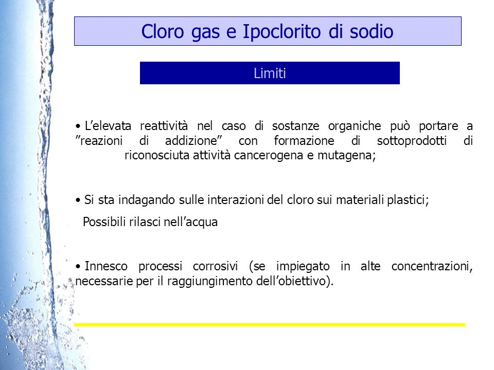 Cloro gas e Ipoclorito di sodio