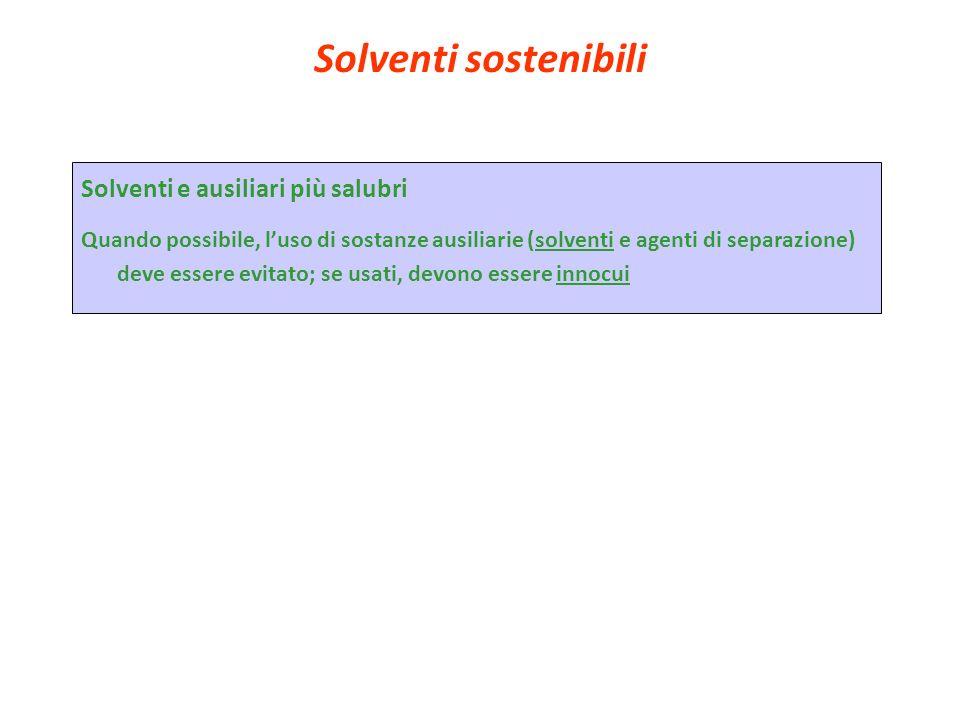 Solventi sostenibili Solventi e ausiliari più salubri