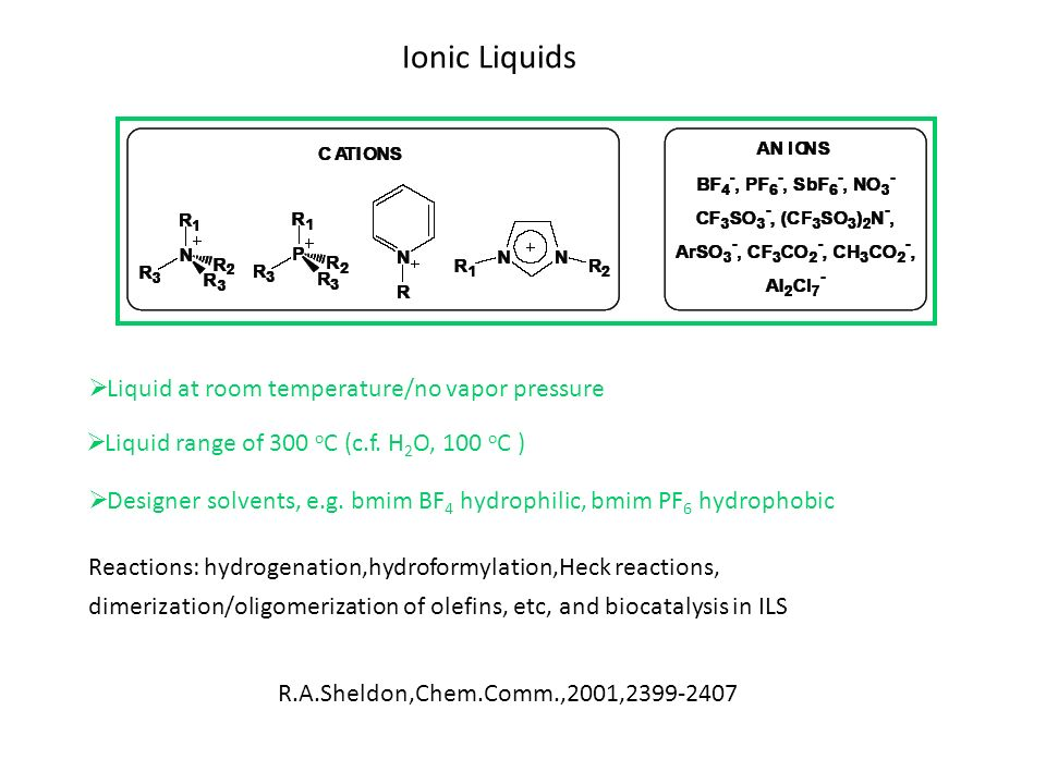 Ionic Liquids Liquid at room temperature/no vapor pressure