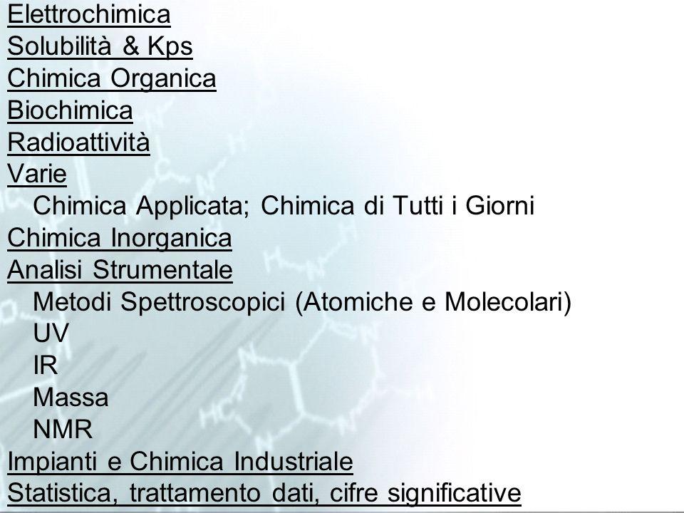 Elettrochimica Solubilità & Kps. Chimica Organica. Biochimica. Radioattività. Varie. Chimica Applicata; Chimica di Tutti i Giorni.