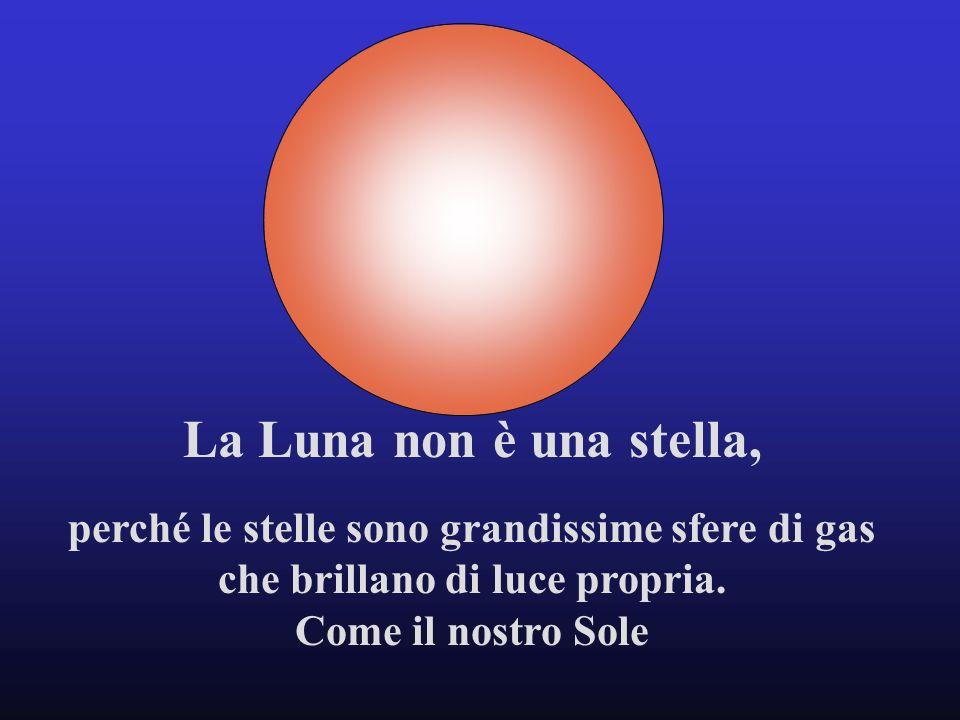 La Luna non è una stella, perché le stelle sono grandissime sfere di gas. che brillano di luce propria.