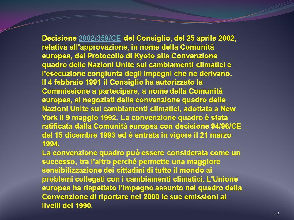 Decisione 2002/358/CE del Consiglio, del 25 aprile 2002, relativa all approvazione, in nome della Comunità europea, del Protocollo di Kyoto alla Convenzione quadro delle Nazioni Unite sui cambiamenti climatici e l esecuzione congiunta degli impegni che ne derivano.