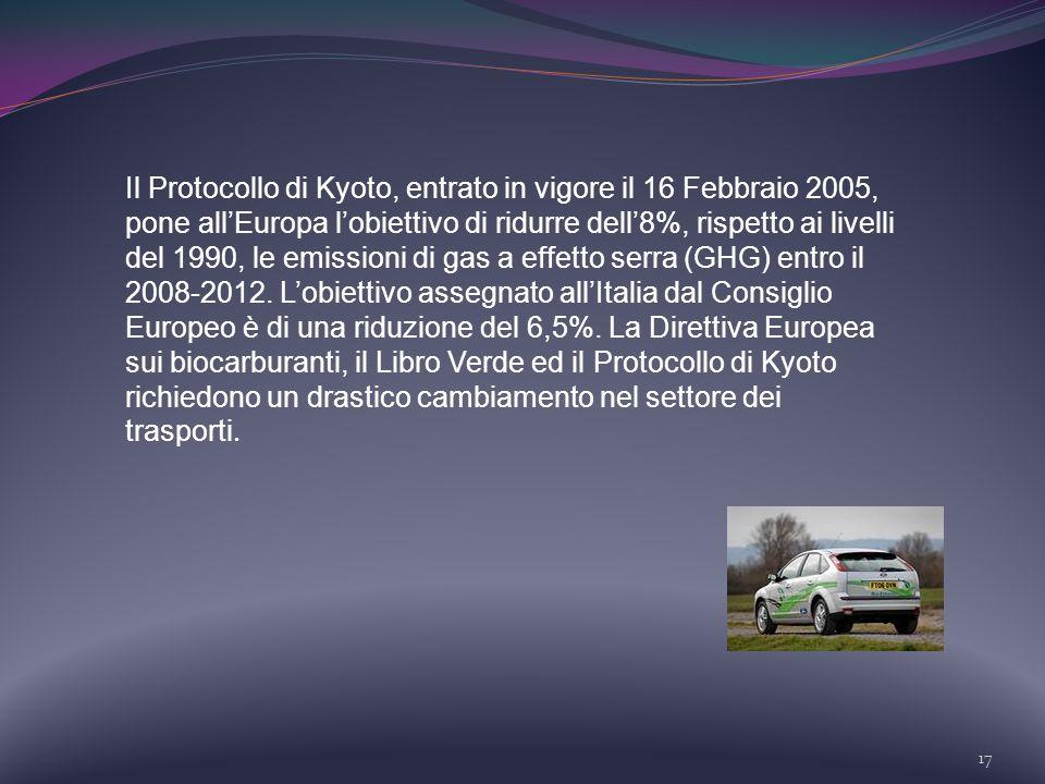 Il Protocollo di Kyoto, entrato in vigore il 16 Febbraio 2005, pone all'Europa l'obiettivo di ridurre dell'8%, rispetto ai livelli del 1990, le emissioni di gas a effetto serra (GHG) entro il 2008-2012.
