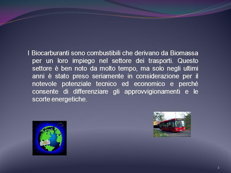 I Biocarburanti sono combustibili che derivano da Biomassa per un loro impiego nel settore dei trasporti.
