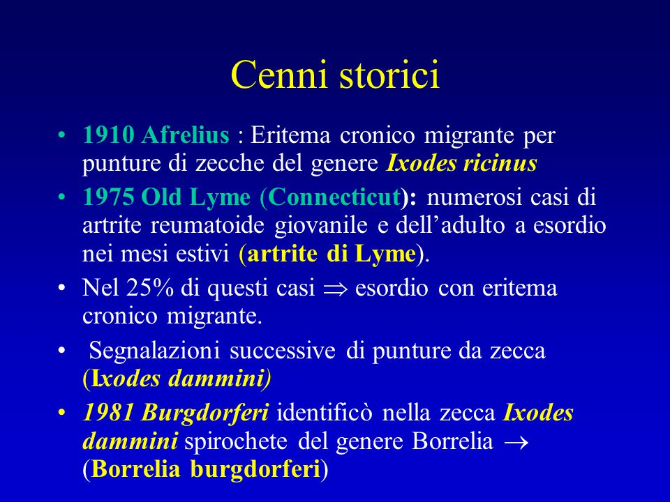 Cenni storici 1910 Afrelius : Eritema cronico migrante per punture di zecche del genere Ixodes ricinus.