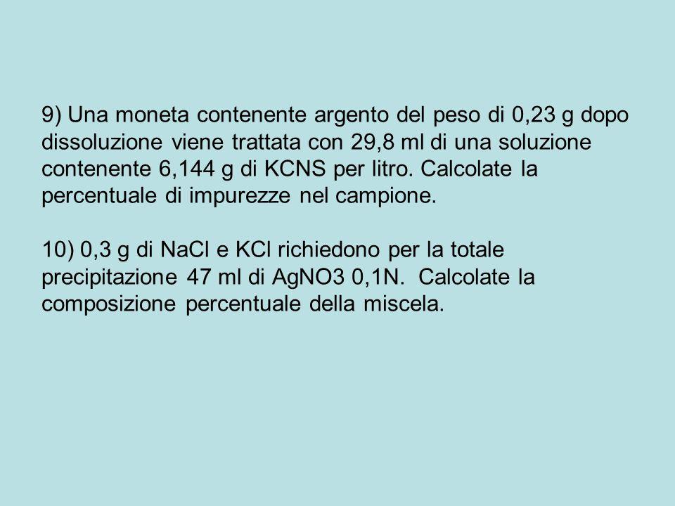 9) Una moneta contenente argento del peso di 0,23 g dopo dissoluzione viene trattata con 29,8 ml di una soluzione contenente 6,144 g di KCNS per litro.