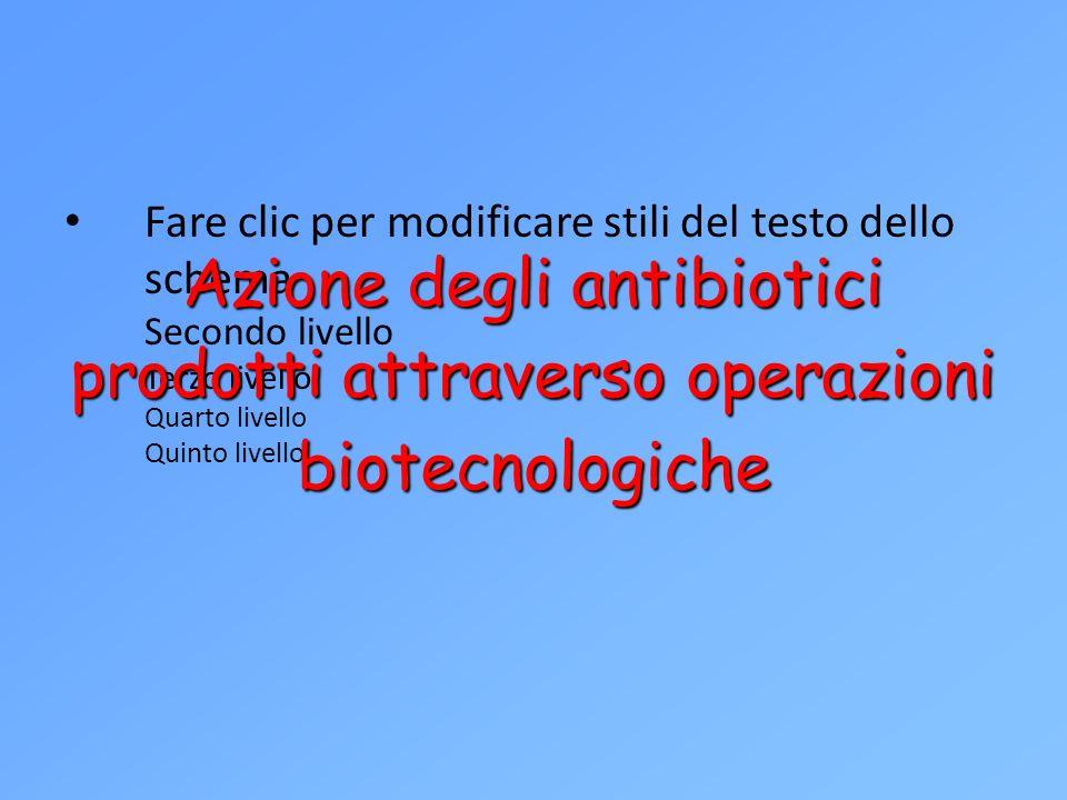 Azione degli antibiotici prodotti attraverso operazioni biotecnologiche