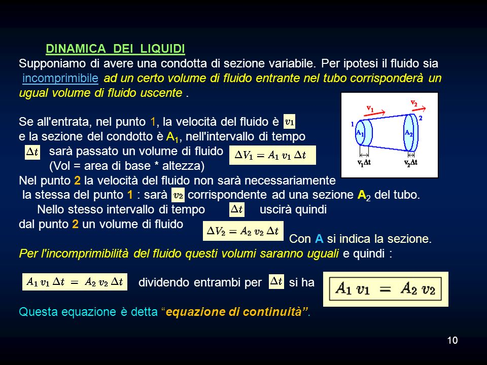 DINAMICA DEI LIQUIDI Supponiamo di avere una condotta di sezione variabile. Per ipotesi il fluido sia.