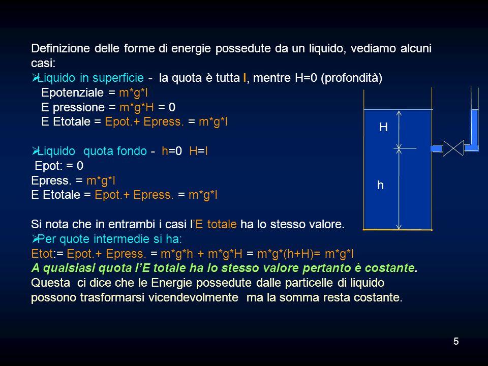 Definizione delle forme di energie possedute da un liquido, vediamo alcuni casi: