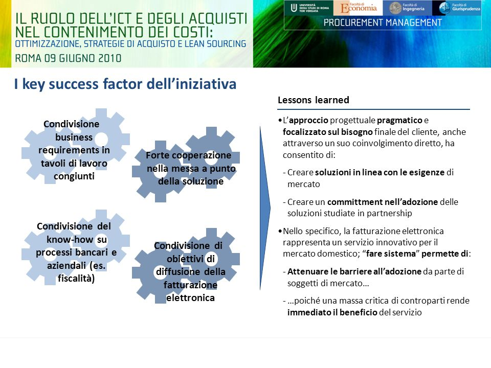 I key success factor dell'iniziativa
