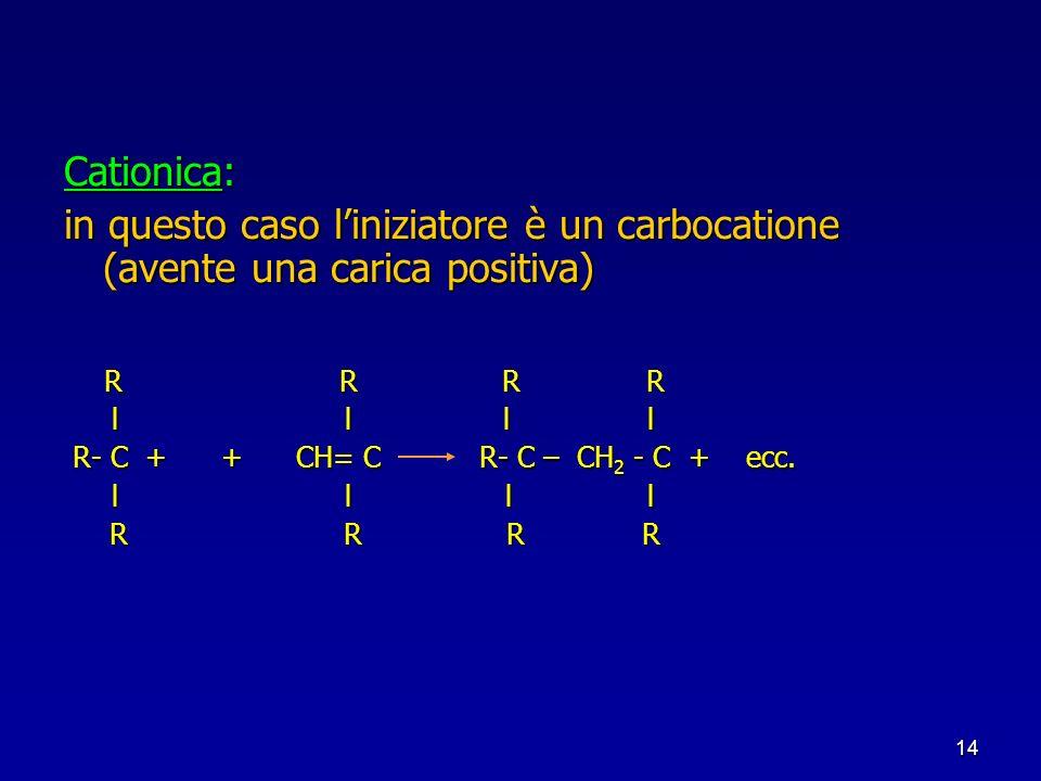 Cationica: in questo caso l'iniziatore è un carbocatione (avente una carica positiva) R R R R.