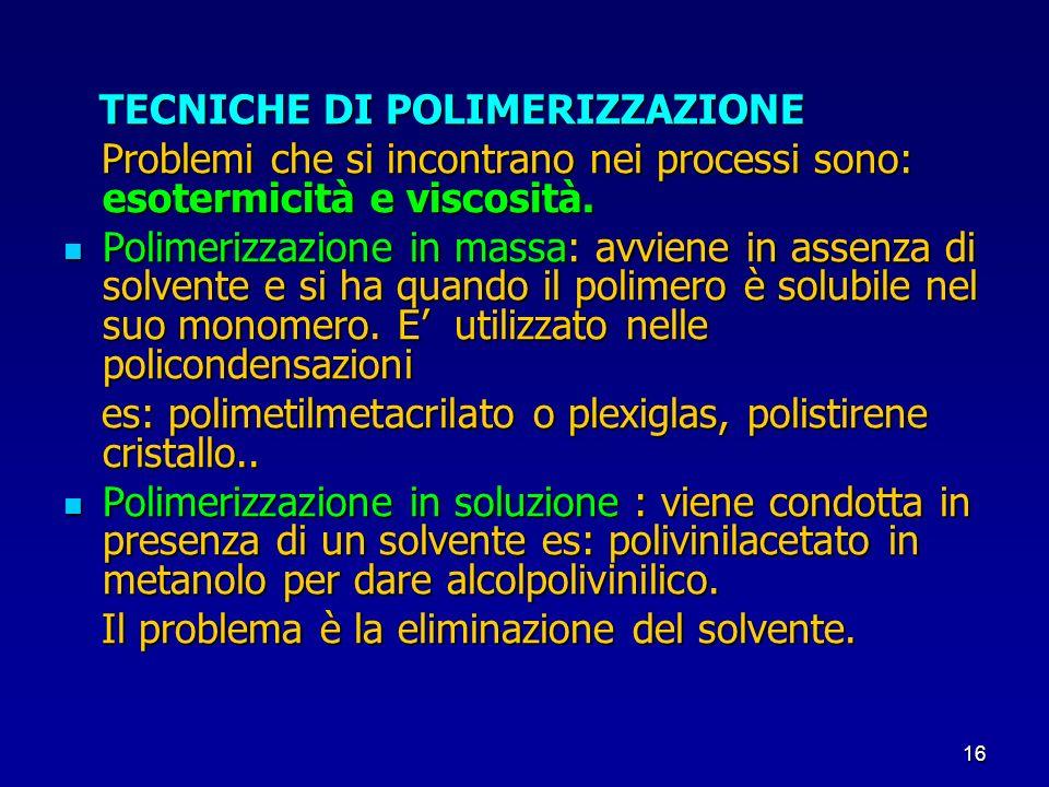 TECNICHE DI POLIMERIZZAZIONE