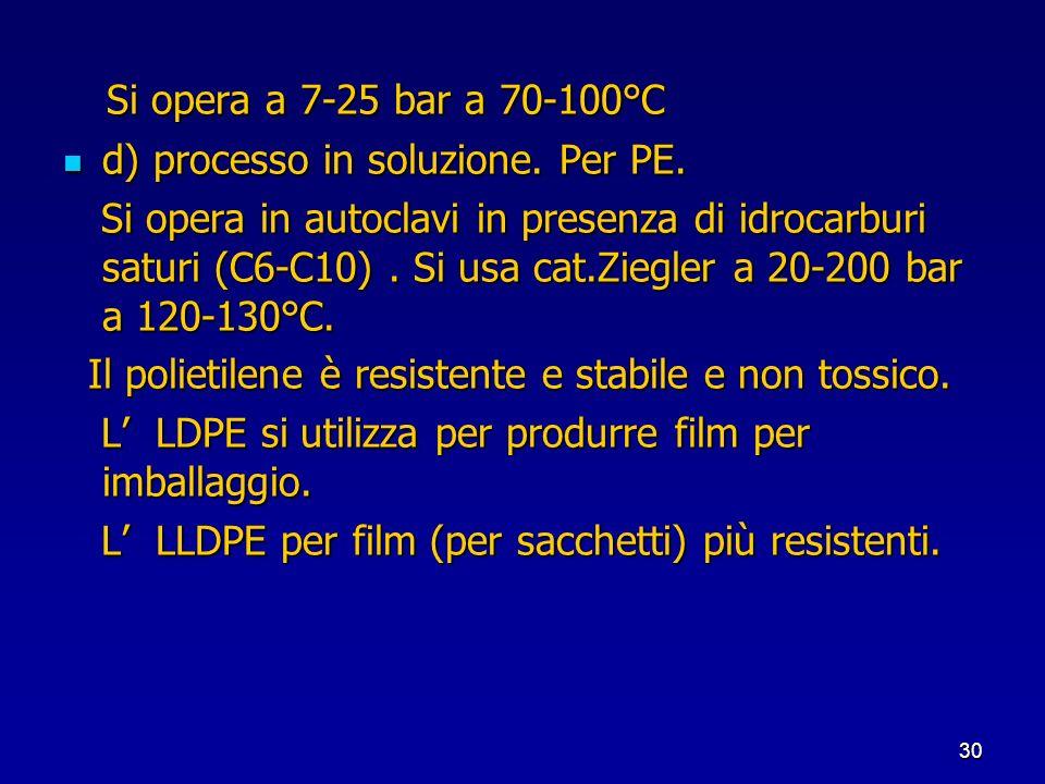 Si opera a 7-25 bar a 70-100°C d) processo in soluzione. Per PE.