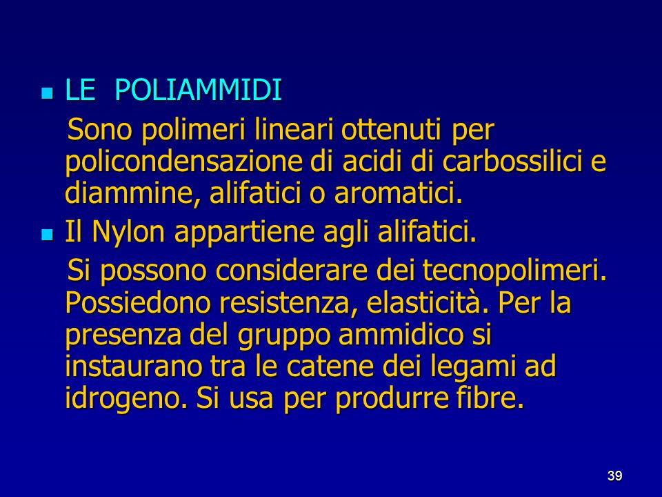 LE POLIAMMIDI Sono polimeri lineari ottenuti per policondensazione di acidi di carbossilici e diammine, alifatici o aromatici.