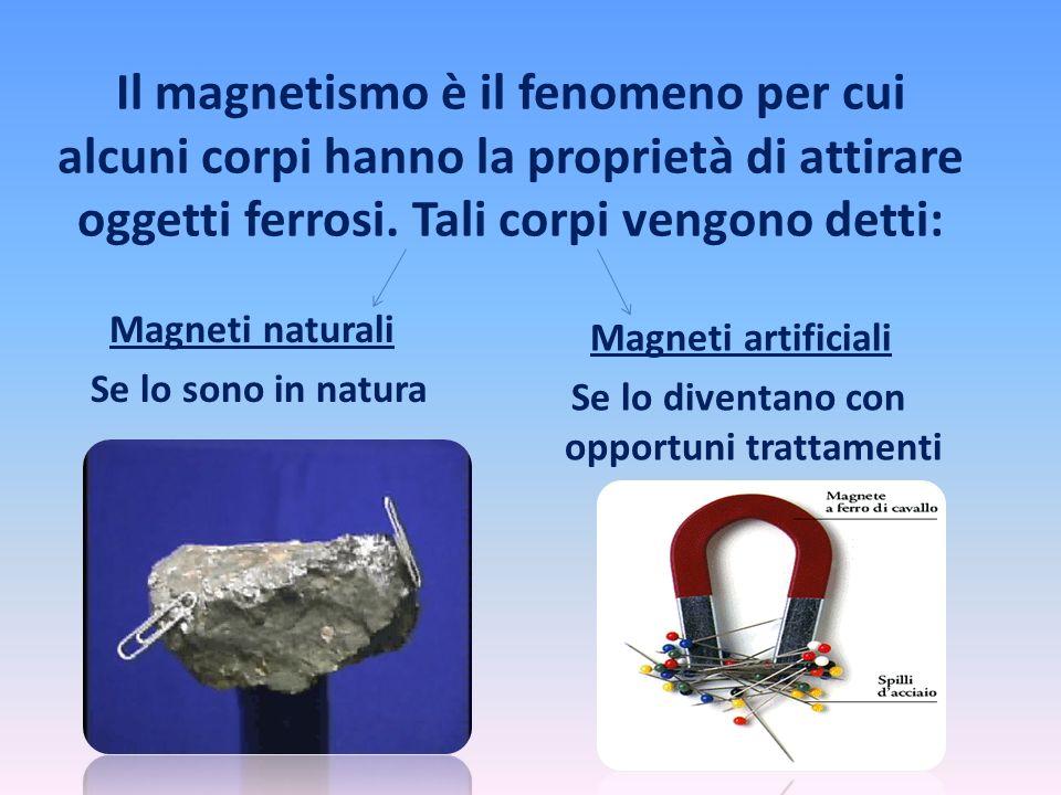 Il magnetismo è il fenomeno per cui alcuni corpi hanno la proprietà di attirare oggetti ferrosi. Tali corpi vengono detti: