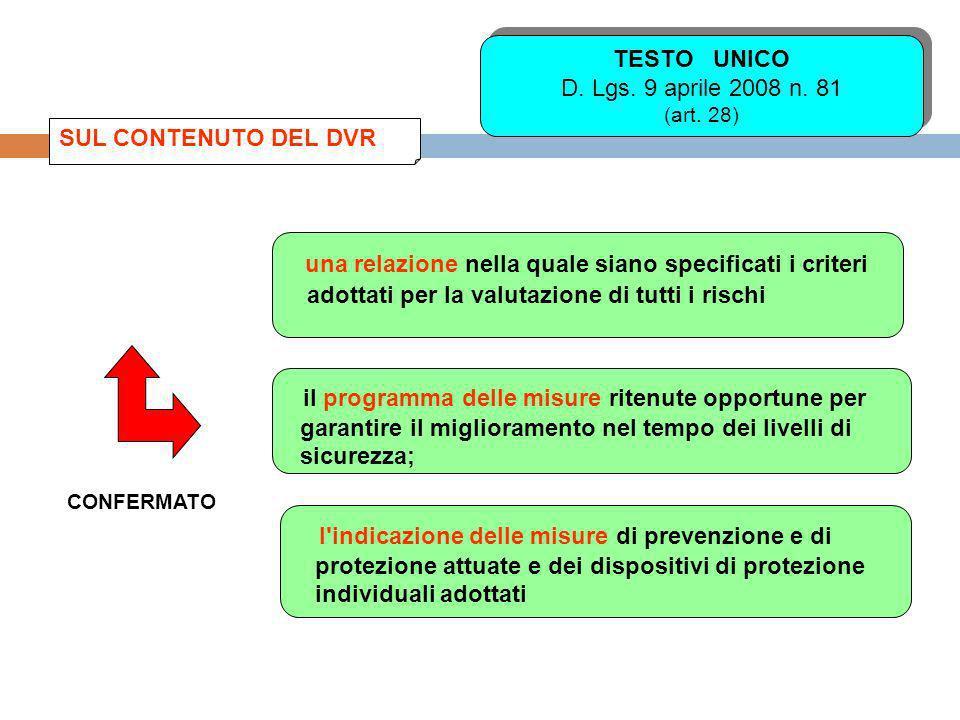TESTO UNICO D. Lgs. 9 aprile 2008 n. 81 (art. 28)
