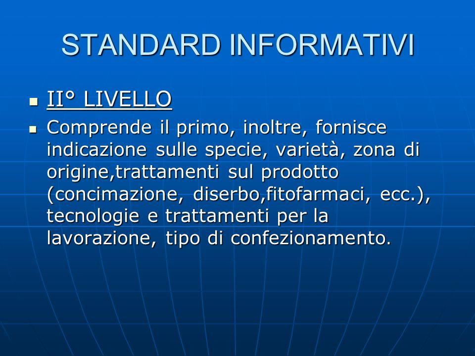 STANDARD INFORMATIVI II° LIVELLO