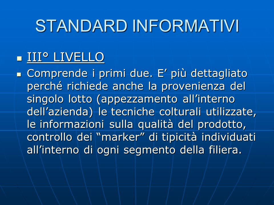 STANDARD INFORMATIVI III° LIVELLO