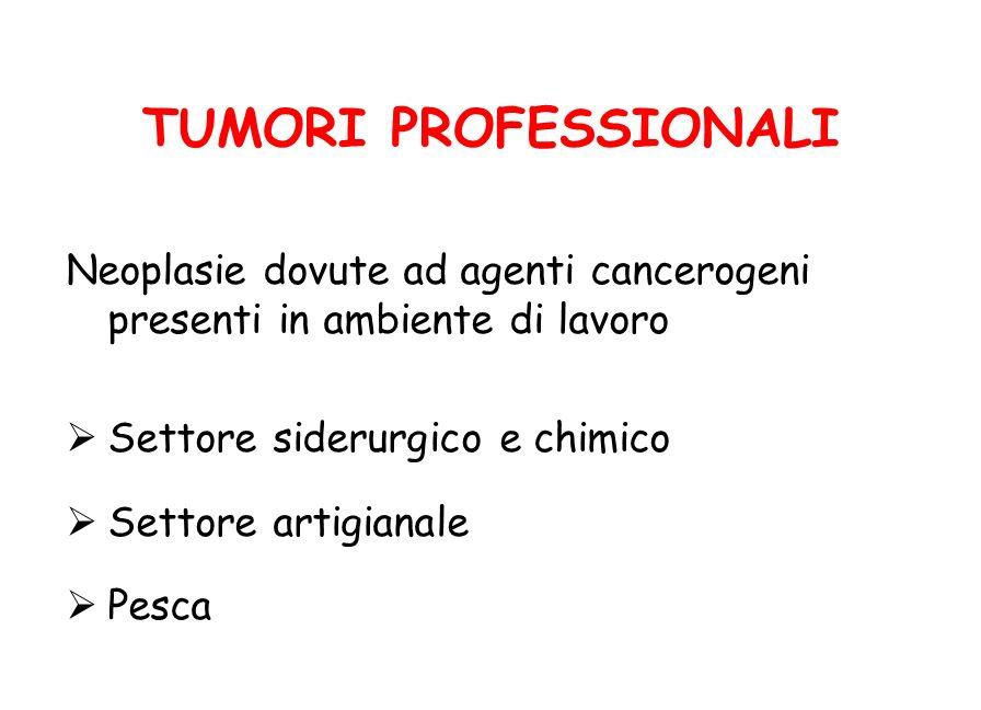 TUMORI PROFESSIONALI Neoplasie dovute ad agenti cancerogeni presenti in ambiente di lavoro. Settore siderurgico e chimico.