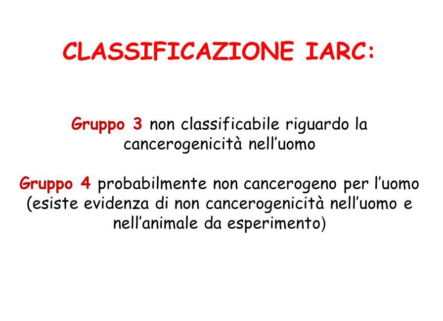 CLASSIFICAZIONE IARC: Gruppo 3 non classificabile riguardo la cancerogenicità nell'uomo Gruppo 4 probabilmente non cancerogeno per l'uomo (esiste evidenza di non cancerogenicità nell'uomo e nell'animale da esperimento)