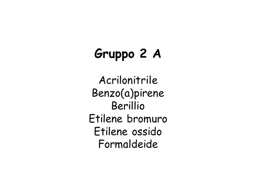 Gruppo 2 A Acrilonitrile Benzo(a)pirene Berillio Etilene bromuro Etilene ossido Formaldeide